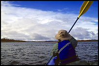Canoeist Paddling on the Kobuk River. Kobuk Valley National Park, Alaska