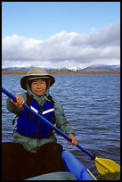 Canoeist Paddling on the Kobuk River. Kobuk Valley National Park, Alaska (color)