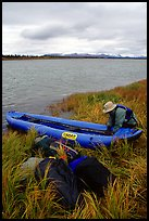 Canoeist unloading the canoe on a grassy riverbank. Kobuk Valley National Park, Alaska