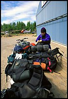Trailer loaded with backpacking gear. Lake Clark National Park, Alaska (color)