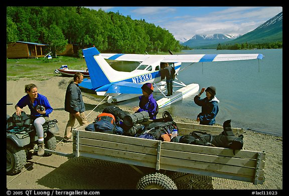 Getting ready to load the floatplane with the backpacking gear. Lake Clark National Park, Alaska