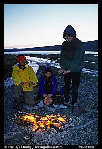 Campfire next to Turquoise Lake. Lake Clark National Park, Alaska