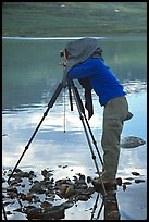 Large format photographer under dark cloth on the shores of Turquoise Lake. Lake Clark National Park, Alaska