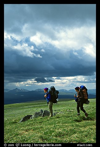 Backpackers seen from the side in the tundra. Lake Clark National Park, Alaska