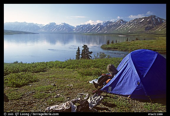 Camp above Twin Lakes. Lake Clark National Park, Alaska (color)