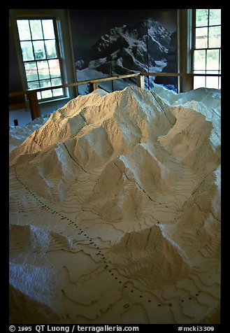 Model of Mt McKinley in the museum of Artic Adventure with West Face routes. Alaska (color)