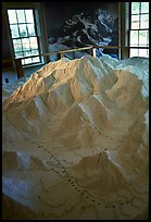 Model of Mt McKinley in the museum of Artic Adventure with West Face routes. Alaska
