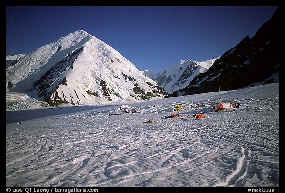 The base camp, at 7000 feet, is in the heart of a huge glacier system. Alaska (color)