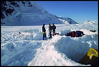 Snow camping on the Kahilna Glacier. Denali, Alaska (color)