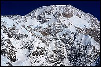 The mighty West face of Mc Kinley. The West Buttress is the ridge on the left on the skyline, the Cassin the ridge on the right. Denali, Alaska