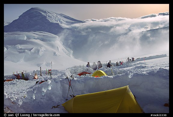 The first important camp, where people gather at a same spot, is found at 11000. Denali, Alaska