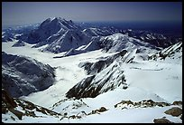 The route so far (outlined in red): the Kahilna glacier in front of Mt Foraker, Windy Corner, and the camp 14300 which is nested in a snow bowl. Denali, Alaska