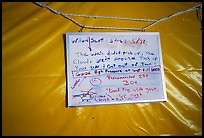 Posted on the ranger tent, was the weather forecast we were all after: at least some stable weather. Denali, Alaska (color)