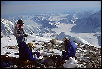 The Balcony camp on the West Rib really deserves its name. Panoramic view over 180 degrees. Denali, Alaska (color)