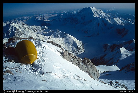 Being late on my schedule, due to the unexpected effect of altitude, I am lucky to find a ledge large enough for my Stephenson tent. Denali, Alaska