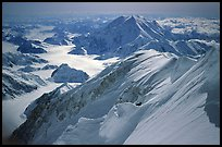 Summit ridge of Mt McKinley. Denali, Alaska (color)