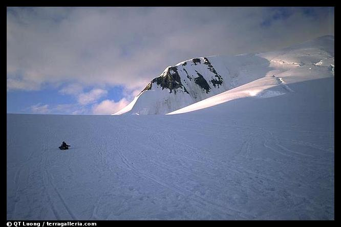 Traveling down with sleds. Denali, Alaska (color)