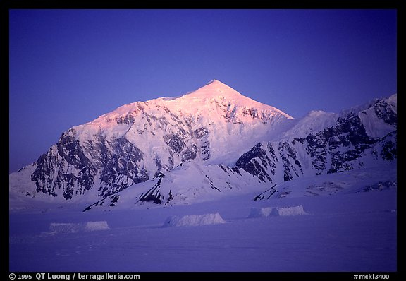 Reaching the base camp right at sunrise, after 18 days. Denali, Alaska (color)