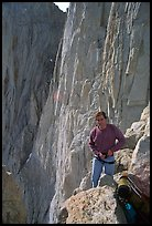 Man gearing up to climb  East face of Mt Whitney. Sequoia National Park, California (color)