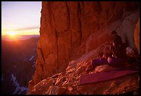 Mountaineers on a bivy on Mt Whitney at sunrise. Sequoia National Park, California (color)