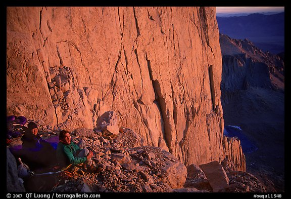 Climbers on a bivy ledge in the East face of Mt Whitney. Sequoia National Park, California