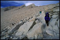 Hiking down Mt Whitney in cold conditions. Sequoia National Park, California (color)
