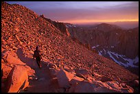 Hiking down Mt Whitney at sunset. Sequoia National Park, California