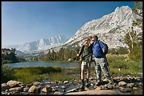 Father and son at Long Lake, John Muir Wilderness. Kings Canyon National Park, California (color)