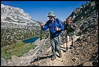 Father and son on trail above Long Lake, John Muir Wilderness. Kings Canyon National Park, California