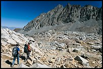 Hikers below Bishop Pass, John Muir Wilderness. Kings Canyon National Park, California