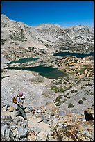 Hiker on trail above Saddlebag Lakes, John Muir Wilderness. Kings Canyon National Park, California