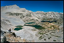 Hikers looking at view  above Saddlebag Lakes, John Muir Wilderness. Kings Canyon National Park, California