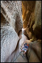 Canyoneering in glowing narrows, Mystery Canyon. Zion National Park, Utah ( color)