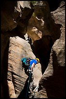 Canyoneers rappel a narrow section of Mystery Canyon. Zion National Park, Utah ( color)