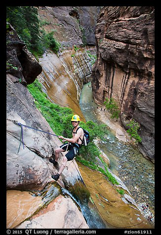 Man starting rappel into the Virgin River Narrows. Zion National Park, Utah (color)
