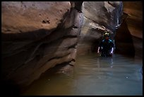 Canyoning in dark narrows, Pine Creek Canyon. Zion National Park, Utah ( color)