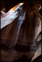 Free hanging rappel in huge chamber, Pine Creek Canyon. Zion National Park, Utah ( color)