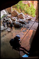 Final rappel out of Pine Creek Canyon. Zion National Park, Utah ( color)