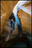 Canyoneer rappels into Keyhole Canyon. Zion National Park, Utah ( color)