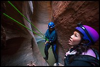 Women canyoneering in Keyhole Canyon. Zion National Park, Utah ( color)