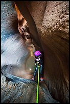Rappeling into the depths of Keyhole Canyon. Zion National Park, Utah ( color)