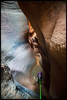 Descending using ropes into the depths of Keyhole Canyon. Zion National Park, Utah ( color)