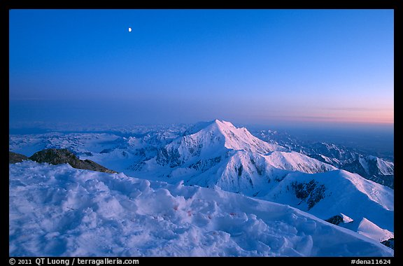 Mt Foraker seen from Mt McKingley at twilight. Denali National Park (color)