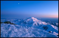 Mt Foraker seen from Mt McKingley at twilight. Denali National Park, Alaska, USA.