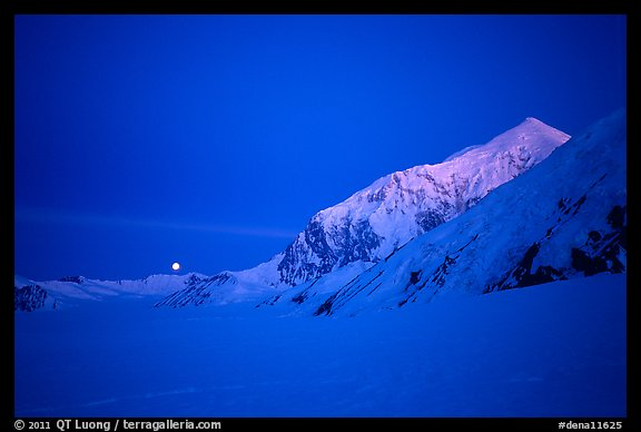Mt Foraker and moon at twilight. Denali National Park (color)