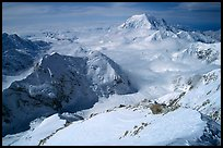 Mt Foraker and Kahilna Peaks seen from the West Rib of Mt McKinley. Denali National Park, Alaska, USA.