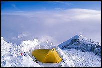 High-altitude camp on the West Rib  of Mt McKinley. Denali National Park, Alaska, USA. (color)