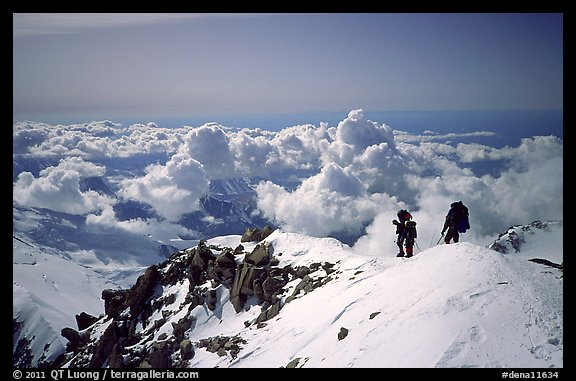 Mountaineers descend West Buttress of Mt McKinley. Denali National Park (color)