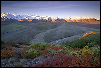 Tundra, braided rivers, Alaska Range at sunrise from Polychrome Pass. Denali National Park, Alaska, USA.