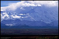 Mt Mc Kinley in the clouds from Wonder Lake area. Denali National Park, Alaska, USA. (color)